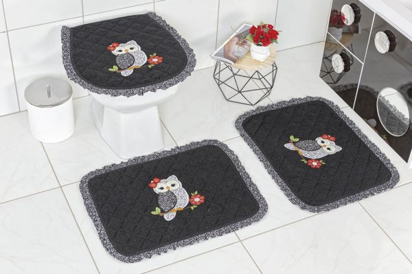 Jogo de Banheiro Felpudo Babado Encanto - Cor 06
